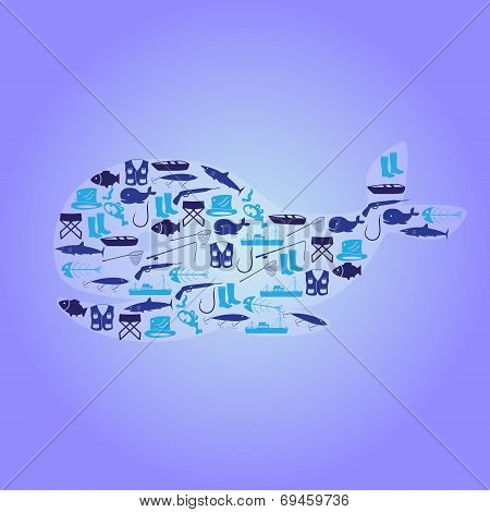 Fishing Icons Whale Symbol Eps10