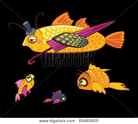 cartoon characters, dandy fish with umbrella