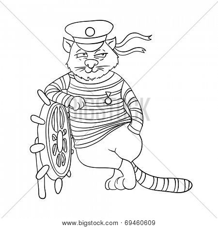 cartoon cat at the helm of ship, vector illustration