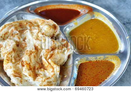 Roti Canai Flat Bread, Indian Food, Made From Wheat Flour Dough. Famous Malaysian Dish, Roti Canai A