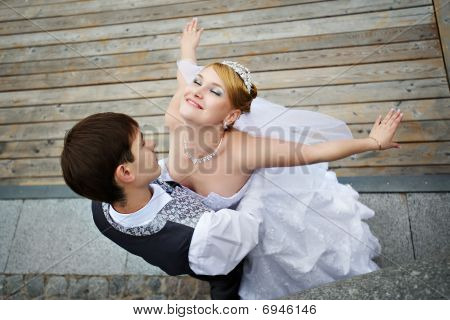 Groom And Bride On Wedding Walk