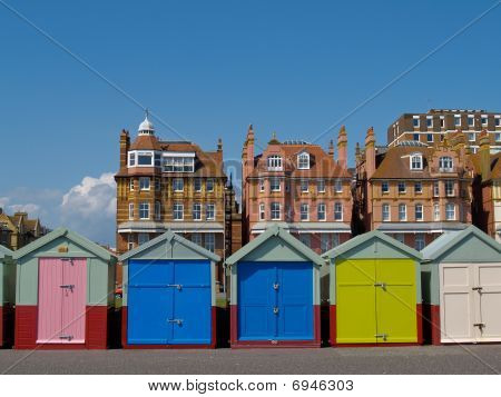 Five beach huts from the front.