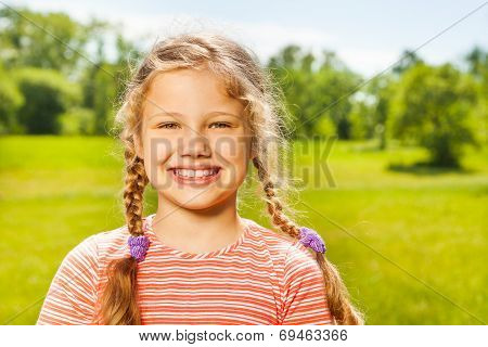 Portrait of happy girl with two braids in summer