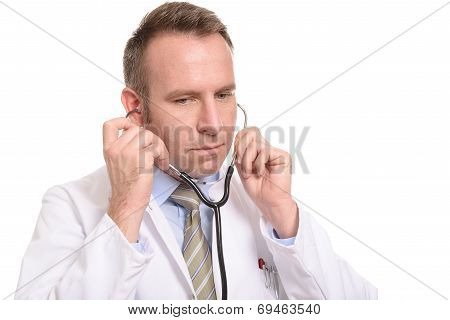 Concerned Doctor Removing His Stethoscope