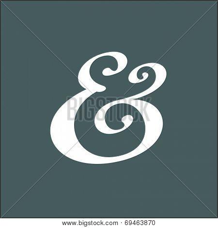 Hand drawn custom ampersand. Decorative ampersand symbol