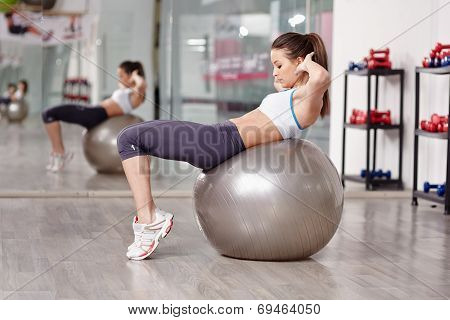 Woman Doing Abs Crunches