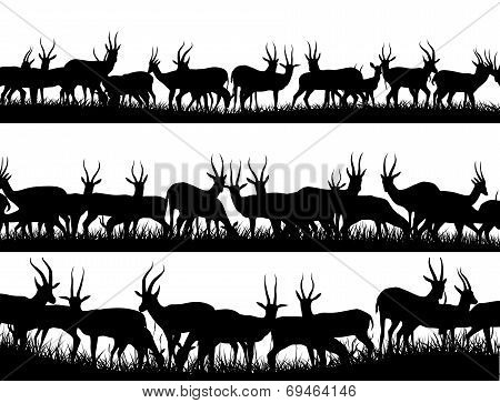 Horizontal Banner Silhouettes Of Herd Of Antelope In African Savanna.