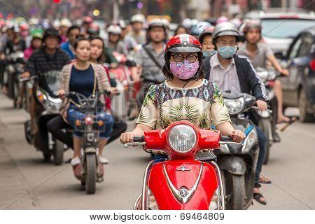 HANOI - 6 APRIL: Traffic in Hanoi, Vietnam, on April 6, 2014.
