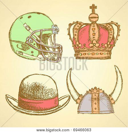 Sketch Viking Helmet, Crown, Football Helmet And Hat