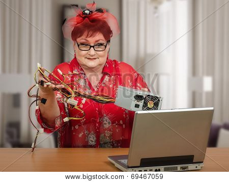 Mature Housewife In Red Hat Holding Power Supply