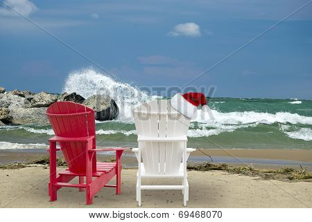 Christmas hat on beach chair