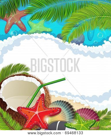Sea Background With  Palm Trees And Coconut Cocktail