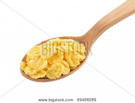 corn flakes in spoon isolated on white background