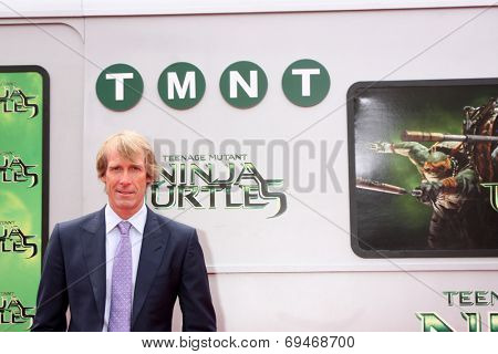 LOS ANGELES - AUG 3:  Michael Bay at the Teenage Mutant Ninja Turtles Premiere at the Village Theater on August 3, 2014 in Westwood, CA