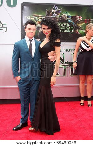 LOS ANGELES - AUG 3:  Noel Fisher, Layla Alizada at the Teenage Mutant Ninja Turtles Premiere at the Village Theater on August 3, 2014 in Westwood, CA