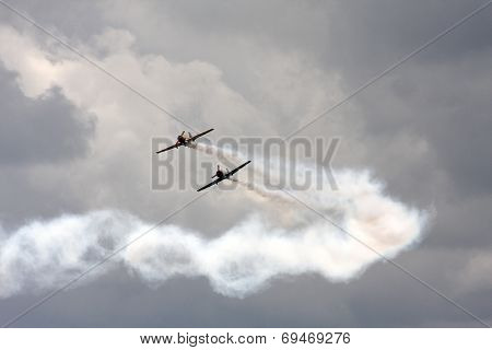 aircraft flying in the clouds