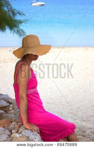 Beautiful  Woman  By The Beach In Greece