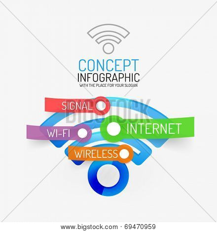 Vector wifi infographic concept. Modern flat line art design with tags or your options on transparent stickers
