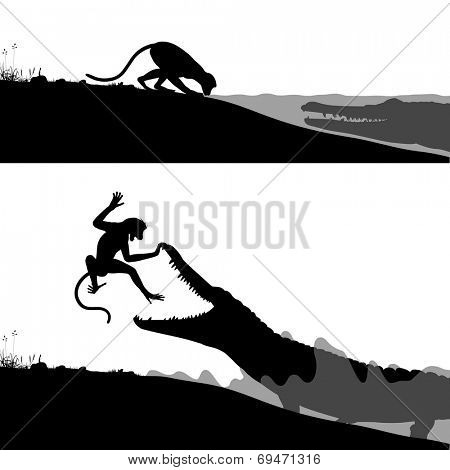 Illustrated silhouettes of a crocodile hunting a thirsty monkey