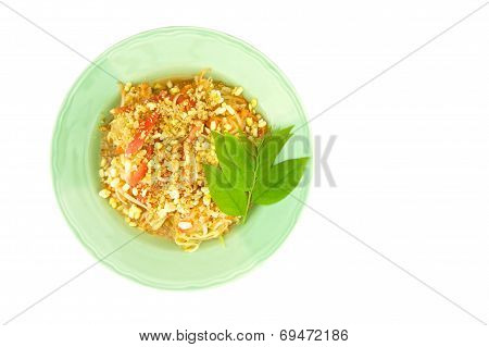 Green Papaya Salad With Leaves Of Gooseberry Isolated