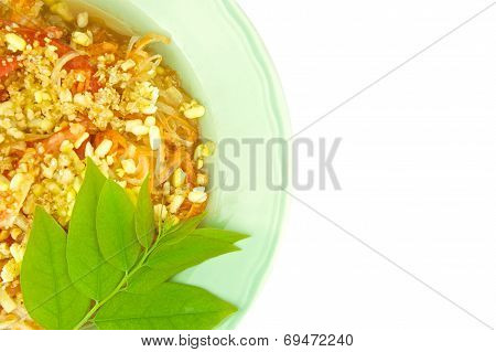 Green Papaya Salad With Leaves Of Gooseberry Vegetarian Isolated