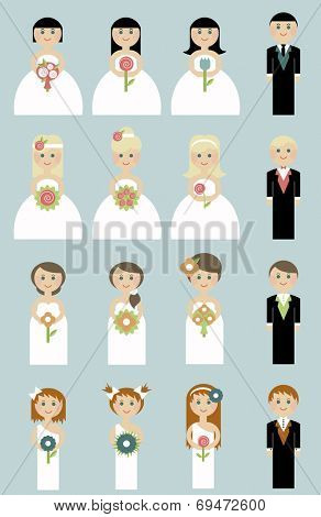 set of wedding couples. Bride and groom. people in flat