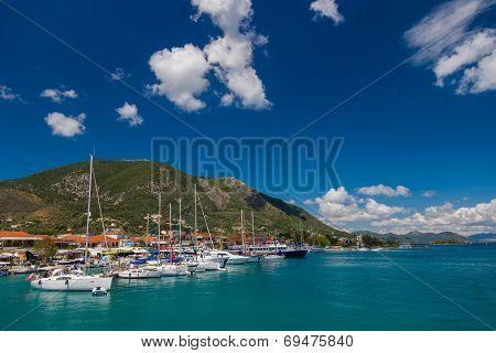Harbor of Nidri on Lefkas island Greece
