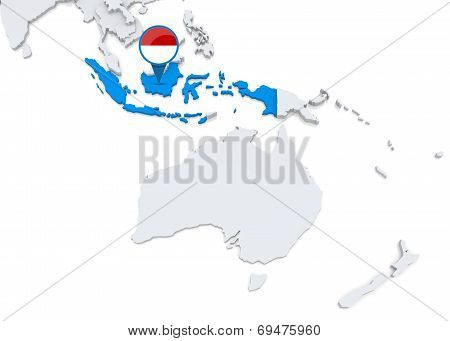 Indonesia On A Map Of Oceania