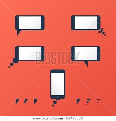 Gadget Vector smartphone empty speech bubbles red mobile
