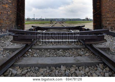 Train Railroad At Auschwitz Birkenau,poland.