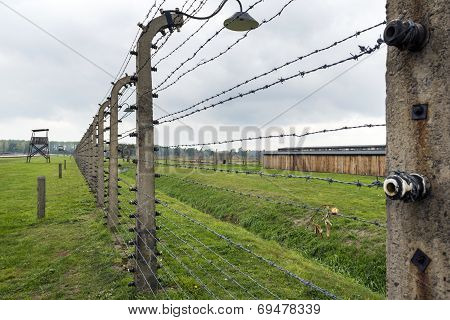 Electric Fence In Auschwitz Ii Extermination Camp In Brzezinka, Poland.
