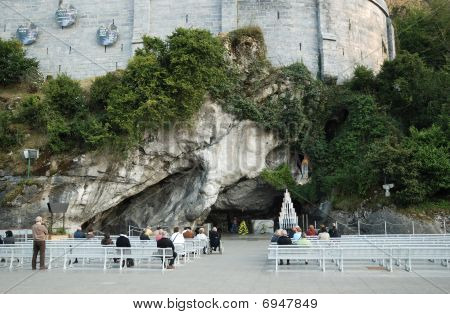 Persons Outside Landmark Of Lourdes