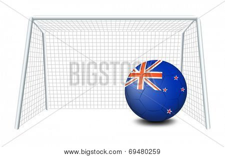 Illustration of a ball near the net with the flag of New Zealand on a white background
