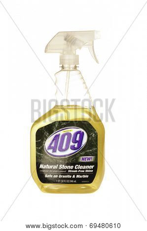 Hayward, CA - July 30, 2014: 1 qt spray bottle of 409 new Natural Stone Cleaner