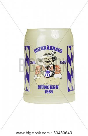 Hayward, CA - July 30, 2014: Commemorative pottery beer mug celebrating the Hofbrauhaus in Munchen 1984