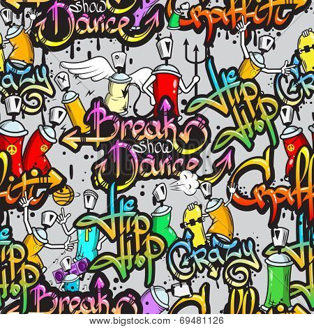 Graffiti characters seamless pattern