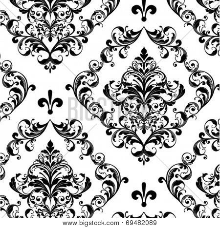 floral seamless damask vector background