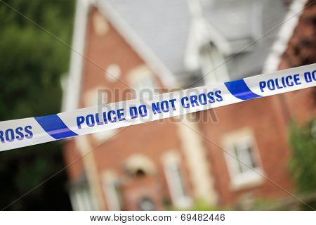 Crime scene investigation police boundary tape concept for law enforcement