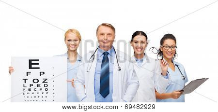 healthcare, vision and medicine concept - smiling eye doctors and nurses with eye exam chart, glasses and clipboard