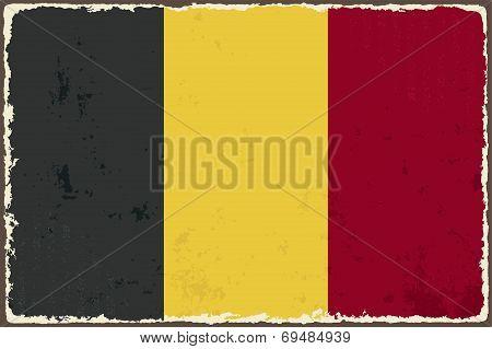 Belgian grunge flag. Vector illustration.