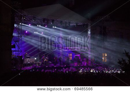 BONTIDA - JUNE 20: THIEVERY CORPORATION performs live at Electric Castle Festival at June 19, 2014 in the Banffy castle in Bontida, Romania