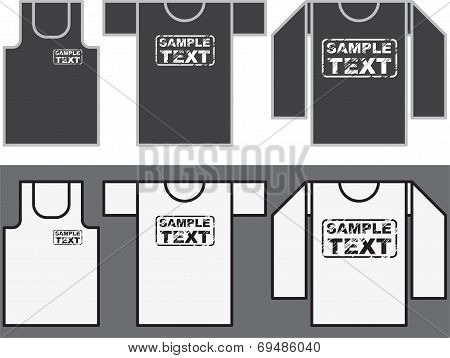 Singlet, T-shirt and Long-sleeved shirt template.