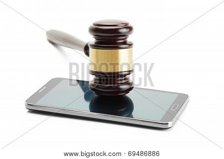 Judge Gavel Over Smartphone And Isolated On White Background - Studio Shoot