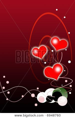 Valentines Day Background With Red And White Hearts