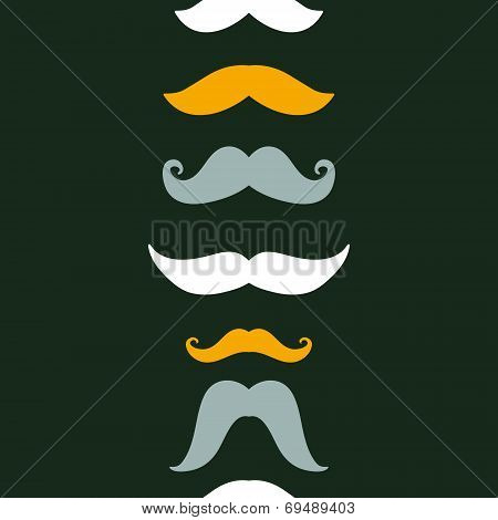Fun silhouette mustaches vertical seamless pattern background