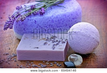 Lavender soap and sponge