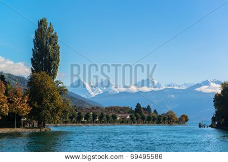 Alps and Thun lake near Spiez town in Switzerland, Europe