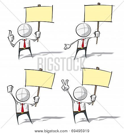 Simple Business People - Holding A Placard