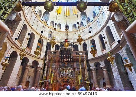 JERUSALEM, ISRAEL - MARCH 9, 2012: Vaulted ceiling in the hall of the Holy Sepulcher. With special crossbar hanging censers