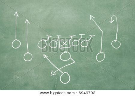 Football Play On Blackboard